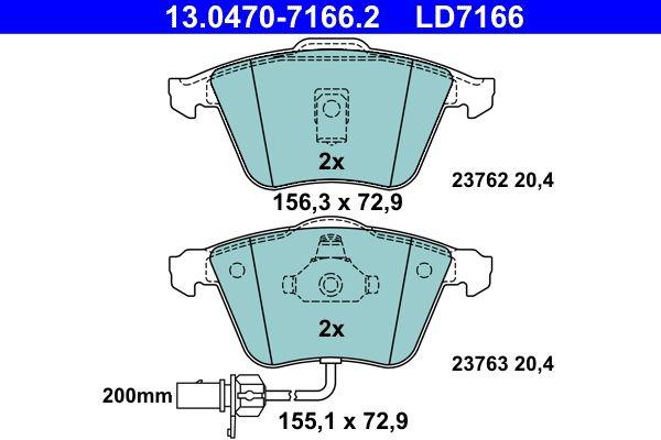 ATE Ceramic 13.0470-7166.2 Juego de pastillas de freno Ancho 1: 155,1mm, Ancho 2: 156,3mm, Altura: 72,9mm, Espesor: 20,4mm