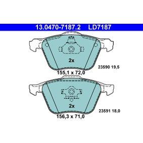 Bremsbelagsatz, Scheibenbremse Breite 1: 155,1mm, Breite 2: 156,3mm, Höhe 1: 72,0mm, Höhe 2: 71,0mm, Dicke/Stärke: 19,5mm mit OEM-Nummer 3 079 326 5