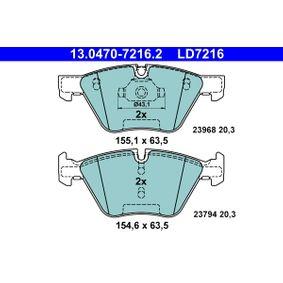 ATE Ceramic 13.0470-7216.2 Bremsbelagsatz, Scheibenbremse Breite 1: 155,1mm, Breite 2: 154,6mm, Höhe 1: 63,5mm, Dicke/Stärke: 20,3mm