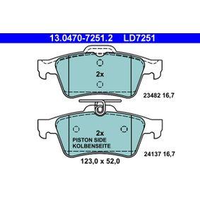 ATE Ceramic 13.0470-7251.2 Bremsbelagsatz, Scheibenbremse Breite: 123,0mm, Höhe: 52,0mm, Dicke/Stärke: 15,0mm