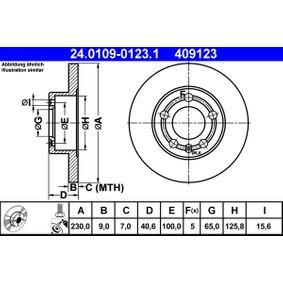 Abgasrückführventil für VW GOLF IV (1J1) 1.6 100 PS ab Baujahr 08.1997 ATE Bremsscheibe (24.0109-0123.1) für