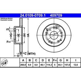 Bremsscheibe Bremsscheibendicke: 9,0mm, Lochanzahl: 5, Ø: 260,0mm mit OEM-Nummer 42510-S87-A00