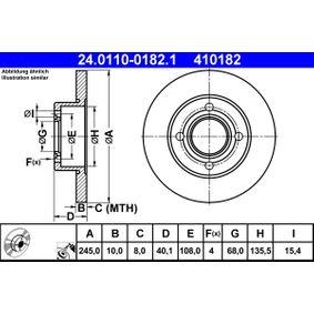 ATE Bremsscheibe 24.0110-0182.1 für AUDI 80 (8C, B4) 2.8 quattro ab Baujahr 09.1991, 174 PS
