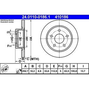 ATE Bremsscheibe 24.0110-0186.1 für FORD SCORPIO I (GAE, GGE) 2.9 i ab Baujahr 09.1986, 145 PS
