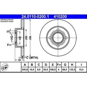 ATE Bremsscheibe 24.0110-0200.1 für AUDI 100 (44, 44Q, C3) 1.8 ab Baujahr 02.1986, 88 PS