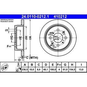 Спирачен диск дебелина на спирачния диск: 10,0мм, брой на дупките: 4, Ø: 238,5мм с ОЕМ-номер 42510 SK3 E00