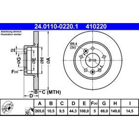 Pulseur d'Air et Composants RENAULT SAFRANE II (B54_) 2.2 dT (B54G) de Année 07.1996 113 CH: Disque de frein (24.0110-0220.1) pour des ATE