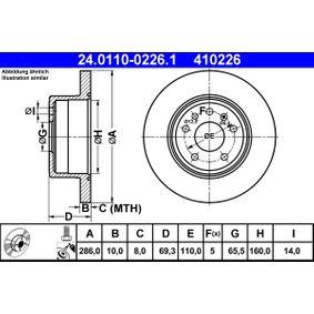 Bremsscheibe Bremsscheibendicke: 10,0mm, Lochanzahl: 5, Ø: 286,0mm mit OEM-Nummer 4839338