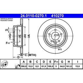 Disco freno (24.0110-0270.1) per per Pezzo per Bloccaggio ROVER 75 (RJ) 1.8 dal Anno 02.1999 120 CV di ATE