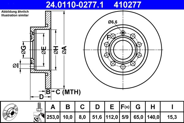 ATE  24.0110-0277.1 Bremsscheibe Bremsscheibendicke: 10,0mm, Lochanzahl: 5, Ø: 253,0mm