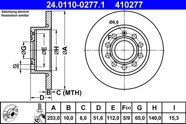 ATE  24.0110-0277.1 Disco de freno Espesor disco freno: 10,0mm, Núm. orificios: 5, Ø: 253,0mm