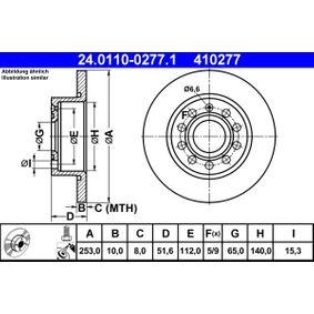 Bremsscheibe Bremsscheibendicke: 10,0mm, Lochanzahl: 5, Ø: 253,0mm mit OEM-Nummer 5Q0615601F