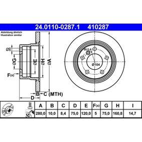 Disque de frein 24.0110-0287.1 Z4 Roadster (E85) 2.5 i ac 2004