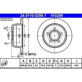 Válvula EGR JEEP GRAND CHEROKEE II (WJ, WG) 2.7 CRD 4x4 de Año 10.2001 163 CV: Disco de freno (24.0110-0299.1) para de ATE