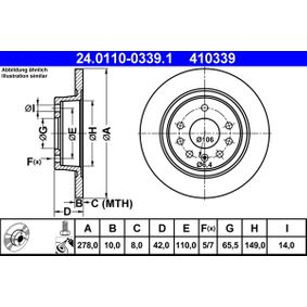 Bremsscheibe Bremsscheibendicke: 10,0mm, Lochanzahl: 5, Ø: 278,0mm mit OEM-Nummer 93184247