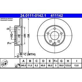 Bremsscheibe Bremsscheibendicke: 11,0mm, Lochanzahl: 5, Ø: 240,5mm mit OEM-Nummer 71739571