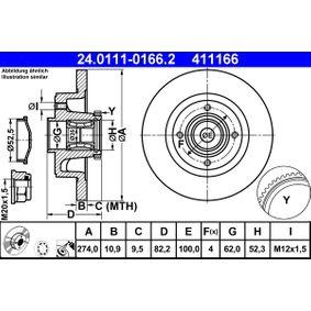 Bremsscheibe Bremsscheibendicke: 10,9mm, Lochanzahl: 4, Ø: 274,0mm mit OEM-Nummer 8660001815