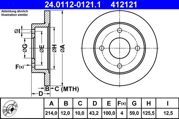 ATE спирачен диск предна ос, Ø: 214,0мм, плътен 24.0112-0121.1