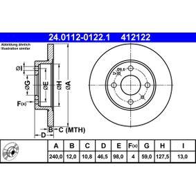 ATE  24.0112-0122.1 Bremsscheibe Bremsscheibendicke: 12,0mm, Lochanzahl: 4, Ø: 240,0mm