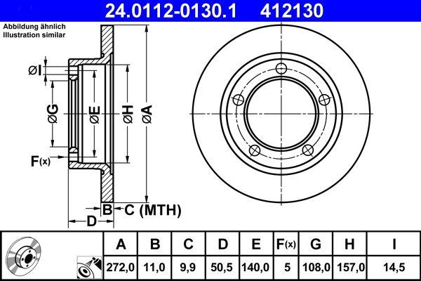 ATE спирачен диск предна ос, Ø: 272,0мм, плътен, с покритие 24.0112-0130.1