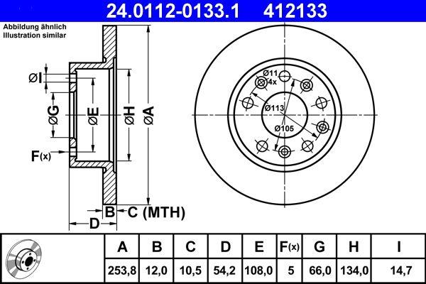 ATE спирачен диск задна ос, Ø: 253,8мм, плътен 24.0112-0133.1