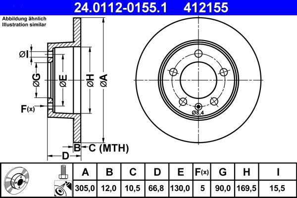 ATE  24.0112-0155.1 Bremsscheibe Bremsscheibendicke: 12,0mm, Lochanzahl: 5, Ø: 305,0mm