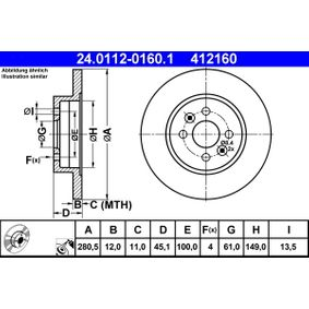 Bremsscheibe Bremsscheibendicke: 12,0mm, Lochanzahl: 4, Ø: 280,5mm mit OEM-Nummer 86 71 019 318