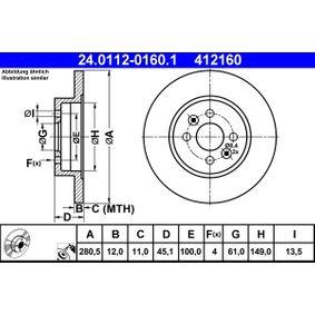 Bremsscheibe Bremsscheibendicke: 12,0mm, Lochanzahl: 4, Ø: 280,5mm mit OEM-Nummer 7701 207 227