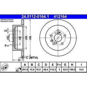 Bremsscheibe Bremsscheibendicke: 12,0mm, Lochanzahl: 5, Ø: 291,0mm mit OEM-Nummer 4243128090