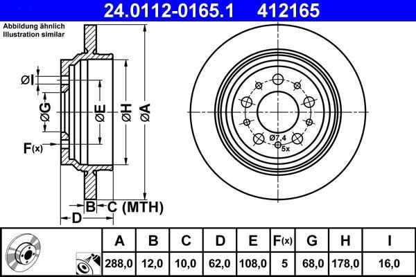 ATE  24.0112-0165.1 Bremsscheibe Bremsscheibendicke: 12,0mm, Lochanzahl: 5, Ø: 288,0mm