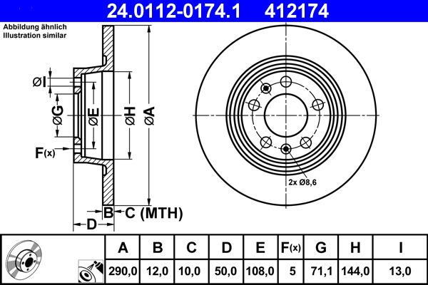 ATE  24.0112-0174.1 Bremsscheibe Bremsscheibendicke: 12,0mm, Lochanzahl: 5, Ø: 290,0mm