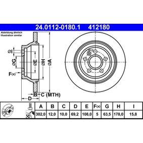 Bremsscheibe Bremsscheibendicke: 12,0mm, Lochanzahl: 5, Ø: 302,0mm mit OEM-Nummer 3 076 905 8