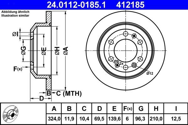 ATE  24.0112-0185.1 Bremsscheibe Bremsscheibendicke: 11,9mm, Lochanzahl: 6, Ø: 324,0mm