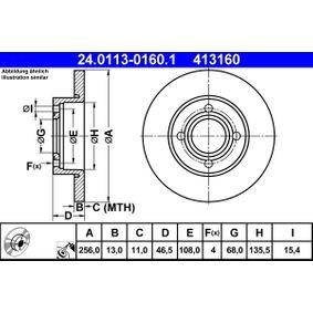 ATE Bremsscheibe 24.0113-0160.1 für AUDI 100 (44, 44Q, C3) 1.8 ab Baujahr 02.1986, 88 PS