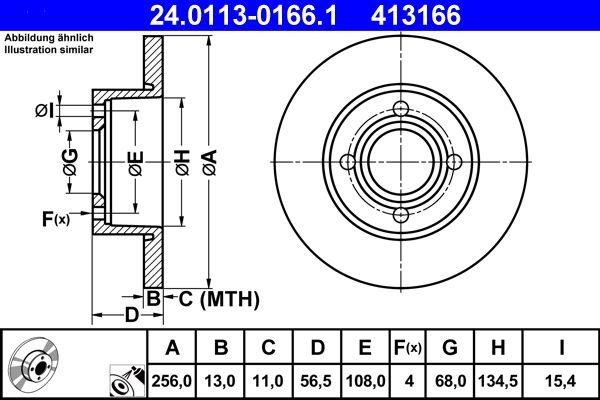 ATE  24.0113-0166.1 Bremsscheibe Bremsscheibendicke: 13,0mm, Lochanzahl: 4, Ø: 256,0mm