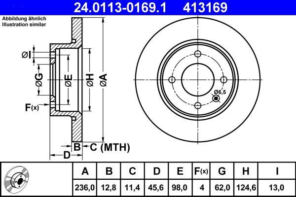ATE  24.0113-0169.1 Bremsscheibe Bremsscheibendicke: 12,8mm, Lochanzahl: 4, Ø: 236,0mm