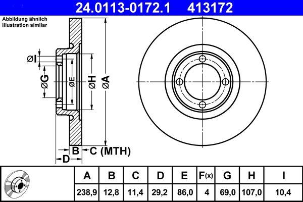 ATE  24.0113-0172.1 Bremsscheibe Bremsscheibendicke: 12,8mm, Lochanzahl: 4, Ø: 238,9mm