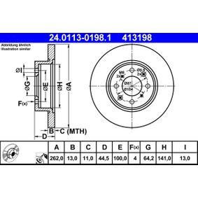 Спирачен диск дебелина на спирачния диск: 13,0мм, брой на дупките: 4, Ø: 262,0мм с ОЕМ-номер GBD90841