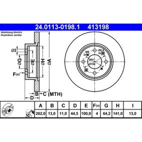 Спирачен диск дебелина на спирачния диск: 13,0мм, брой на дупките: 4, Ø: 262,0мм с ОЕМ-номер SDB100500