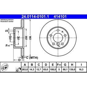 ATE  24.0114-0101.1 Bremsscheibe Bremsscheibendicke: 14,3mm, Lochanzahl: 5, Ø: 263,0mm