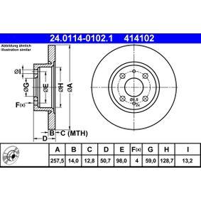 Bremsscheibe Bremsscheibendicke: 14,0mm, Lochanzahl: 4, Ø: 257,5mm mit OEM-Nummer 82434169