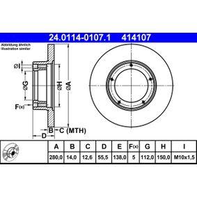 ATE  24.0114-0107.1 Bremsscheibe Bremsscheibendicke: 14,0mm, Lochanzahl: 5, Ø: 280,0mm