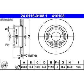 Motorhalter für VW TRANSPORTER IV Bus (70XB, 70XC, 7DB, 7DW) 2.5 TDI 102 PS ab Baujahr 09.1995 ATE Bremsscheibe (24.0116-0108.1) für