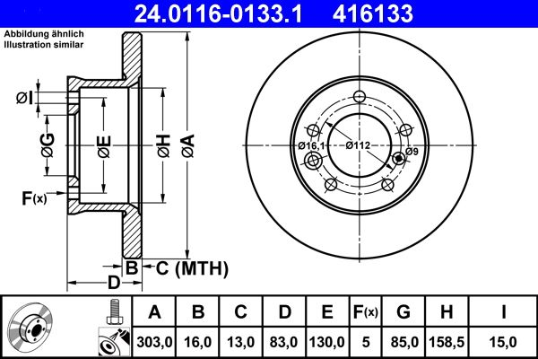 ATE  24.0116-0133.1 Bremsscheibe Bremsscheibendicke: 16,0mm, Lochanzahl: 5, Ø: 303,0mm