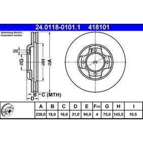 ATE  24.0118-0101.1 Bremsscheibe Bremsscheibendicke: 18,0mm, Lochanzahl: 4, Ø: 238,0mm