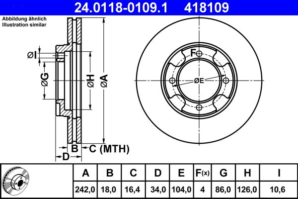 ATE  24.0118-0109.1 Bremsscheibe Bremsscheibendicke: 18,0mm, Lochanzahl: 4, Ø: 242,0mm