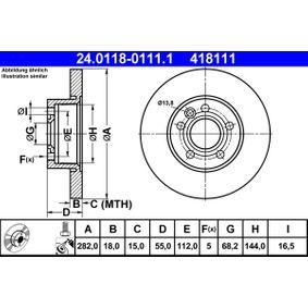 Motorhalter für VW TRANSPORTER IV Bus (70XB, 70XC, 7DB, 7DW) 2.5 TDI 102 PS ab Baujahr 09.1995 ATE Bremsscheibe (24.0118-0111.1) für