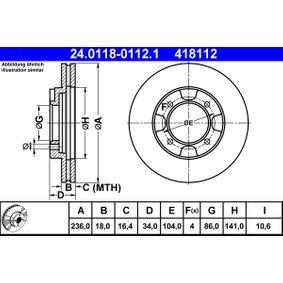 ATE  24.0118-0112.1 Bremsscheibe Bremsscheibendicke: 18,0mm, Lochanzahl: 4, Ø: 236,0mm