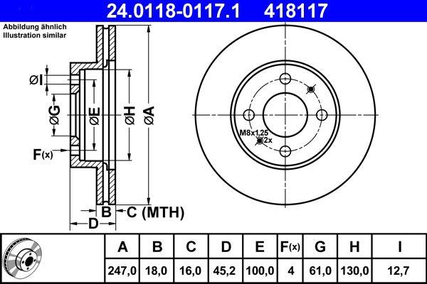 ATE  24.0118-0117.1 Bremsscheibe Bremsscheibendicke: 18,0mm, Lochanzahl: 4, Ø: 247,0mm