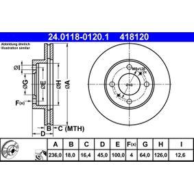 ATE  24.0118-0120.1 Bremsscheibe Bremsscheibendicke: 18,0mm, Lochanzahl: 4, Ø: 236,0mm